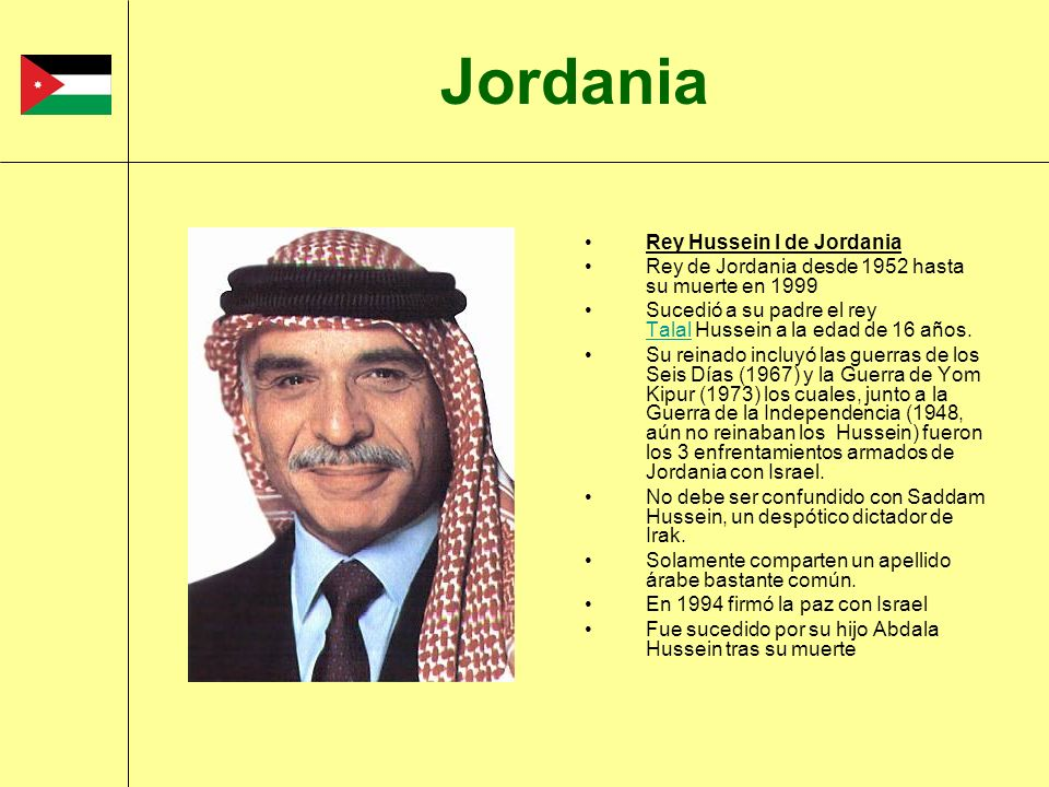 Jordania Rey Hussein I de Jordania