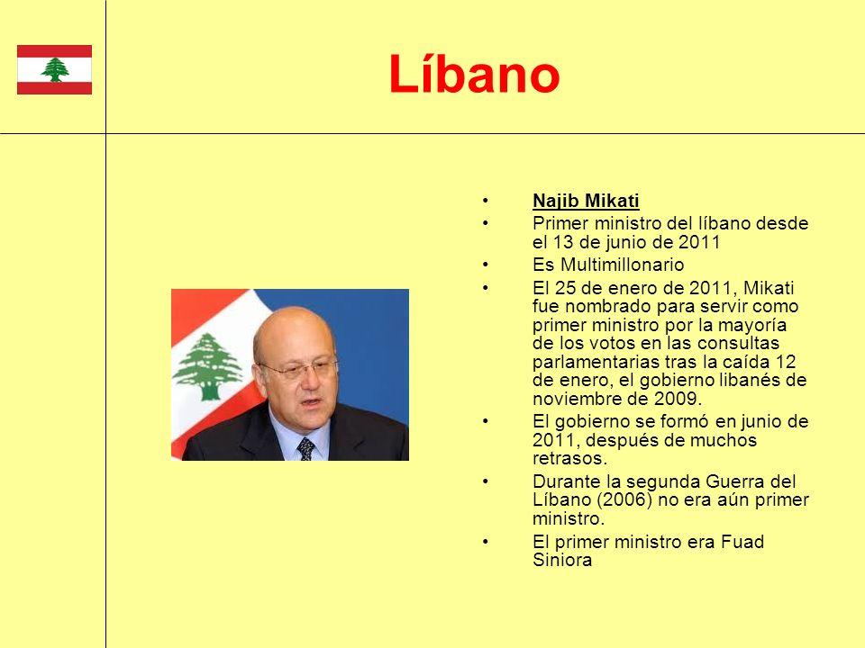 LíbanoNajib Mikati. Primer ministro del líbano desde el 13 de junio de 2011. Es Multimillonario.