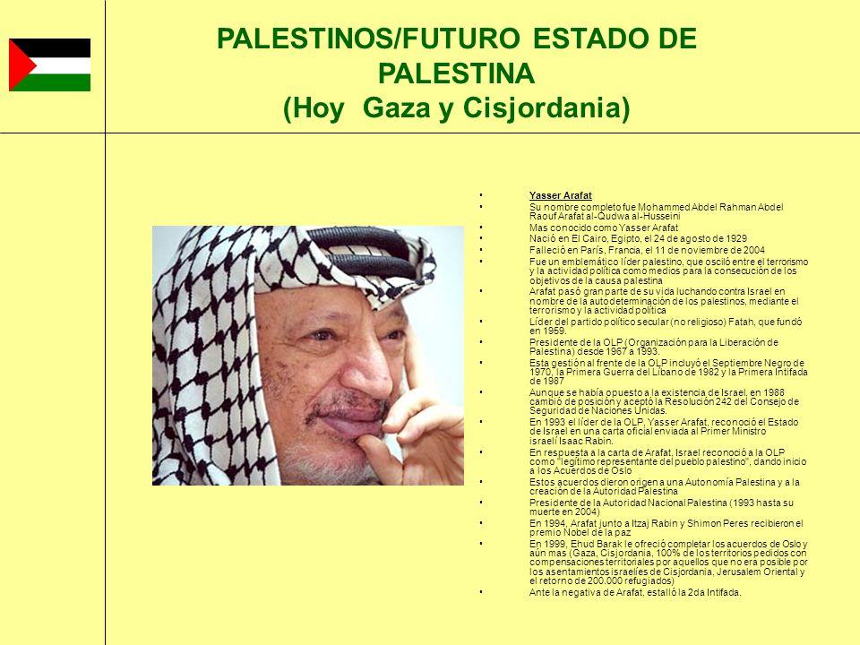 PALESTINOS/FUTURO ESTADO DE PALESTINA (Hoy Gaza y Cisjordania)