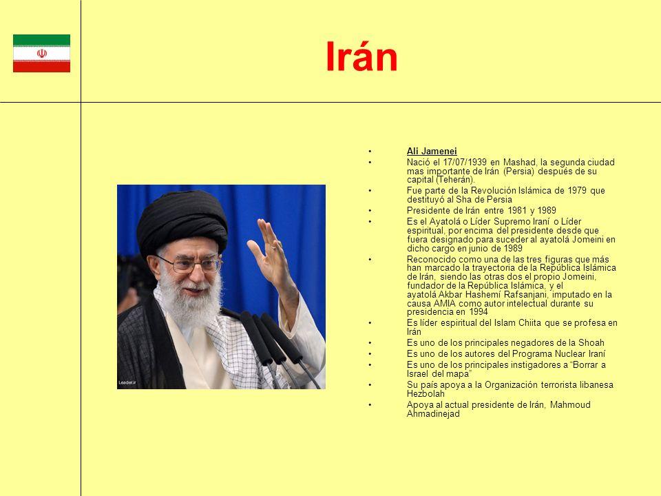 IránAli Jamenei. Nació el 17/07/1939 en Mashad, la segunda ciudad mas importante de Irán (Persia) después de su capital (Teherán).