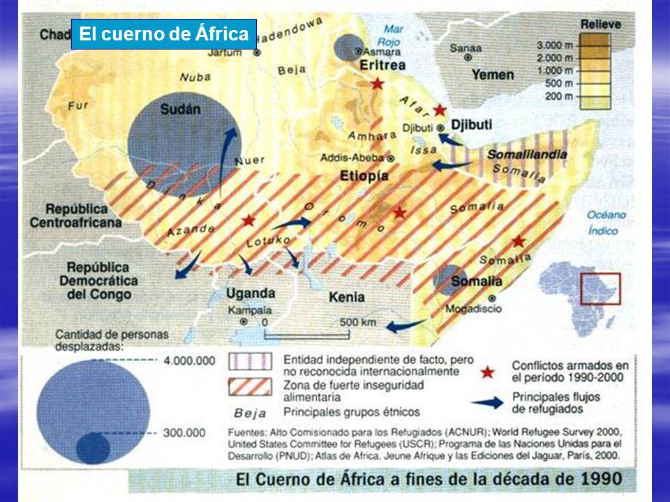El cuerno de África Fuente: Le Monde Diplomatique, ACNUR, 2000, USCR, PNUD, 2000.