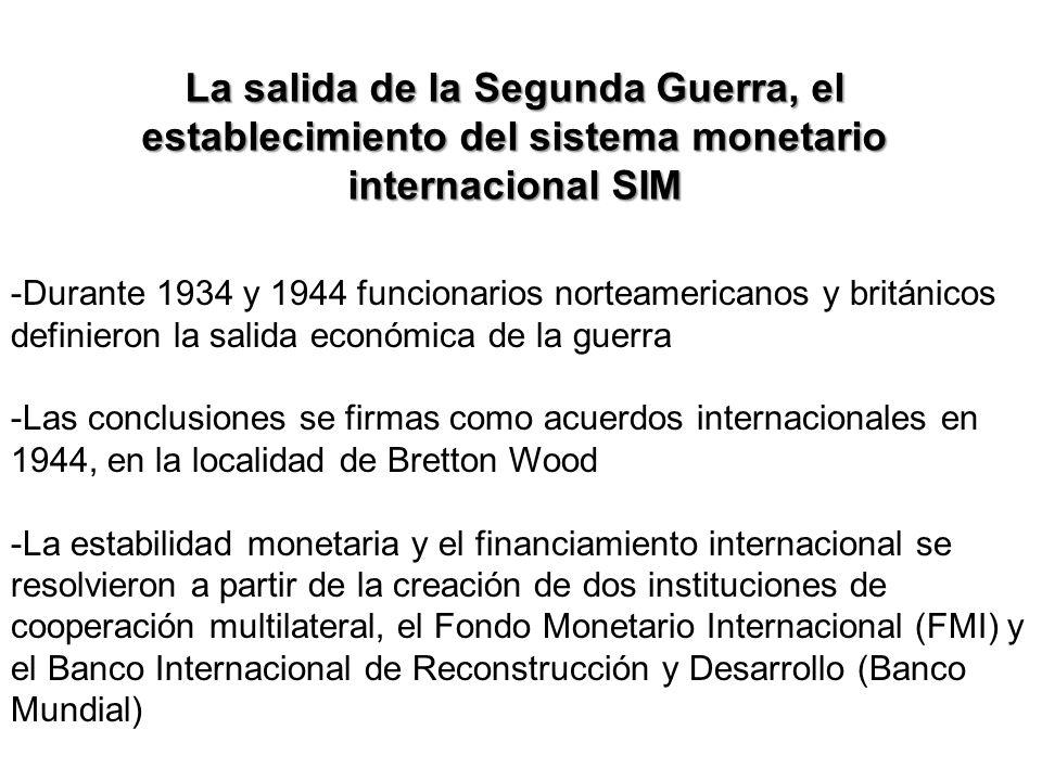 La salida de la Segunda Guerra, el establecimiento del sistema monetario internacional SIM
