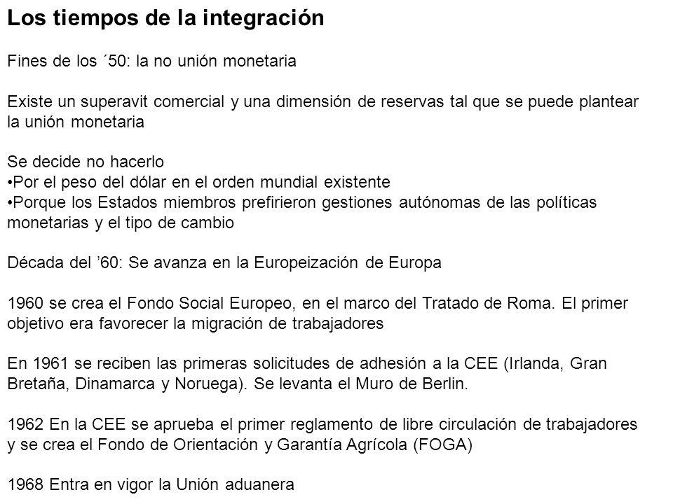Los tiempos de la integración