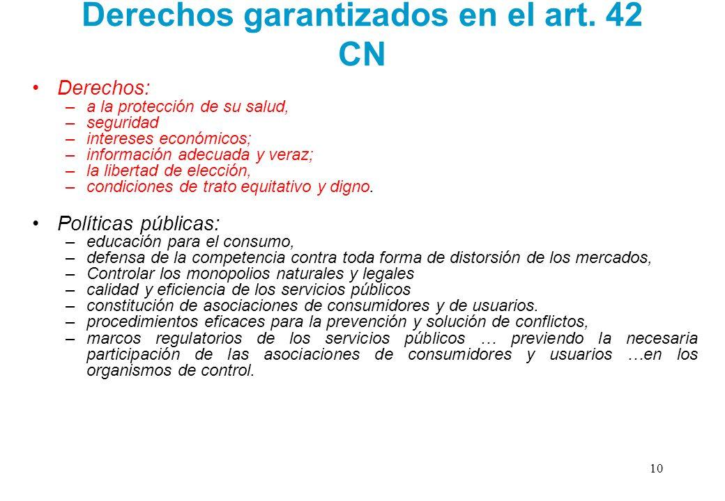 Derechos garantizados en el art. 42 CN