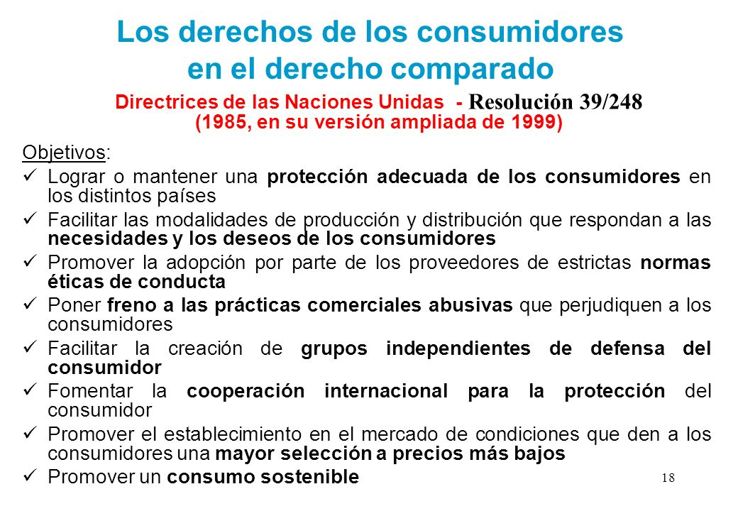 Los derechos de los consumidores en el derecho comparado