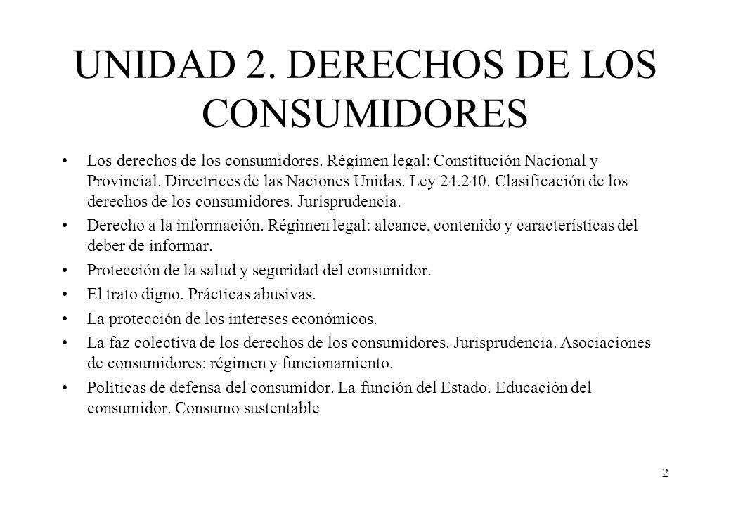 UNIDAD 2. DERECHOS DE LOS CONSUMIDORES