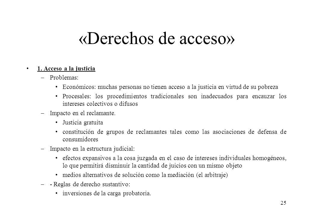«Derechos de acceso» 1. Acceso a la justicia Problemas: