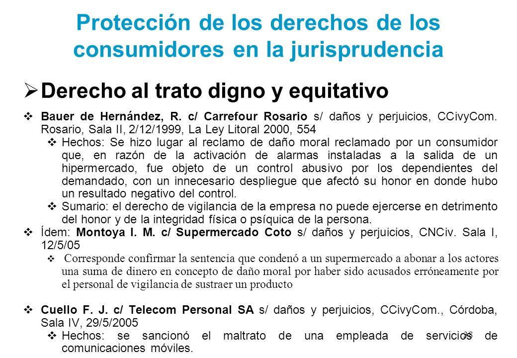Protección de los derechos de los consumidores en la jurisprudencia