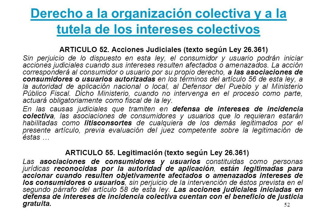 Derecho a la organización colectiva y a la tutela de los intereses colectivos