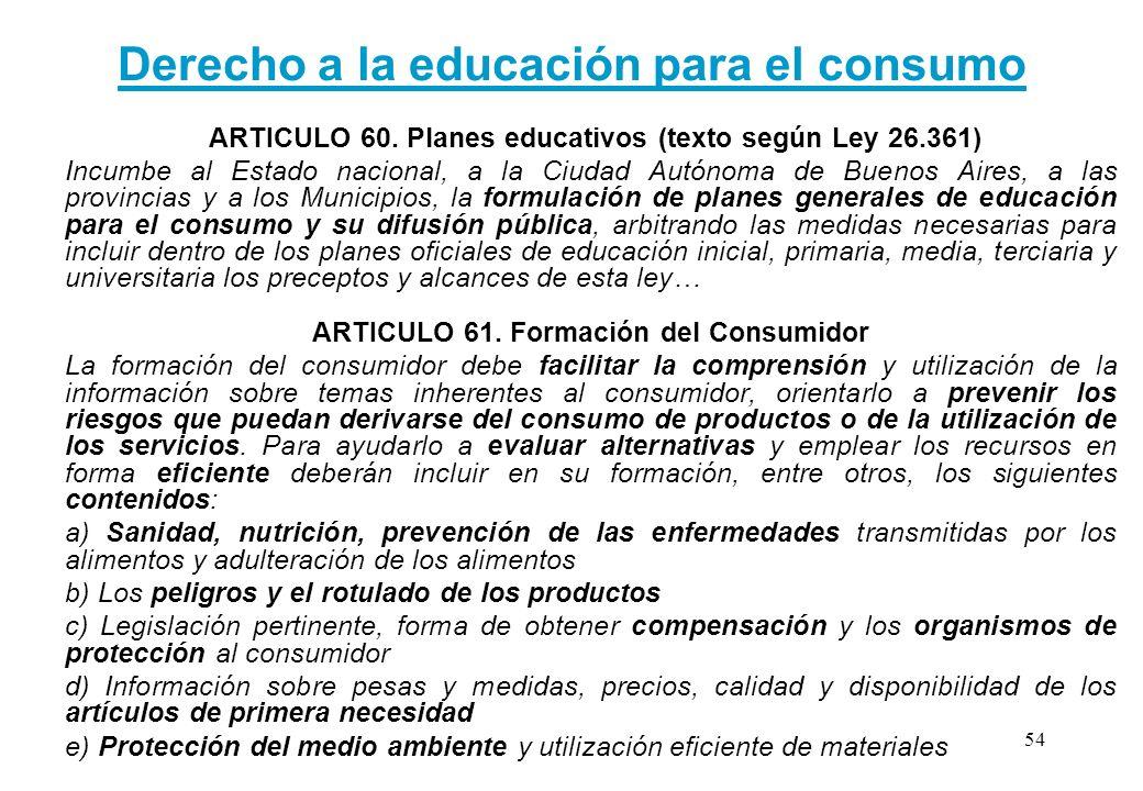 Derecho a la educación para el consumo