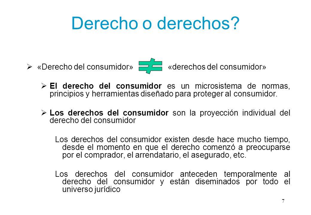 Derecho o derechos «Derecho del consumidor» «derechos del consumidor»