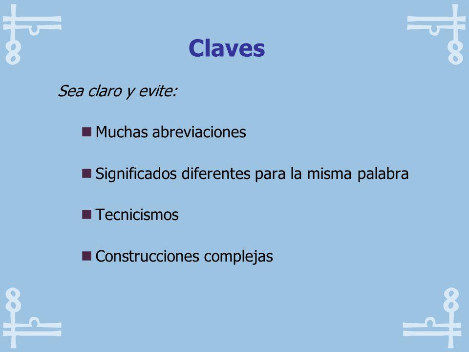 Claves Sea claro y evite: Muchas abreviaciones
