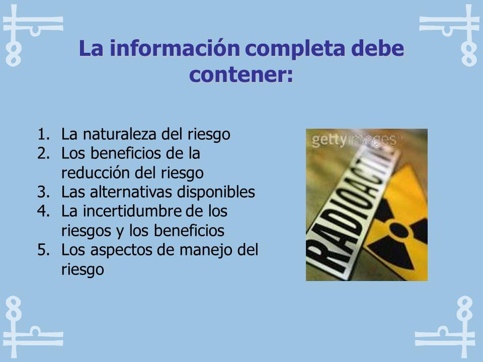 La información completa debe contener: