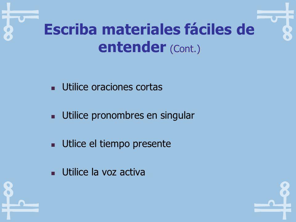 Escriba materiales fáciles de entender (Cont.)