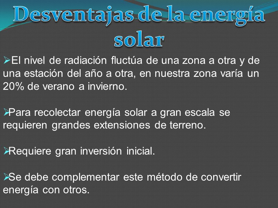 Desventajas de la energía