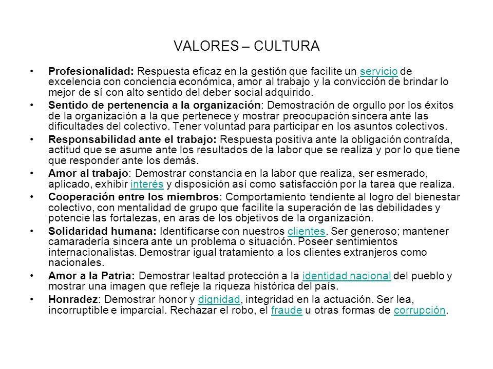 VALORES – CULTURA