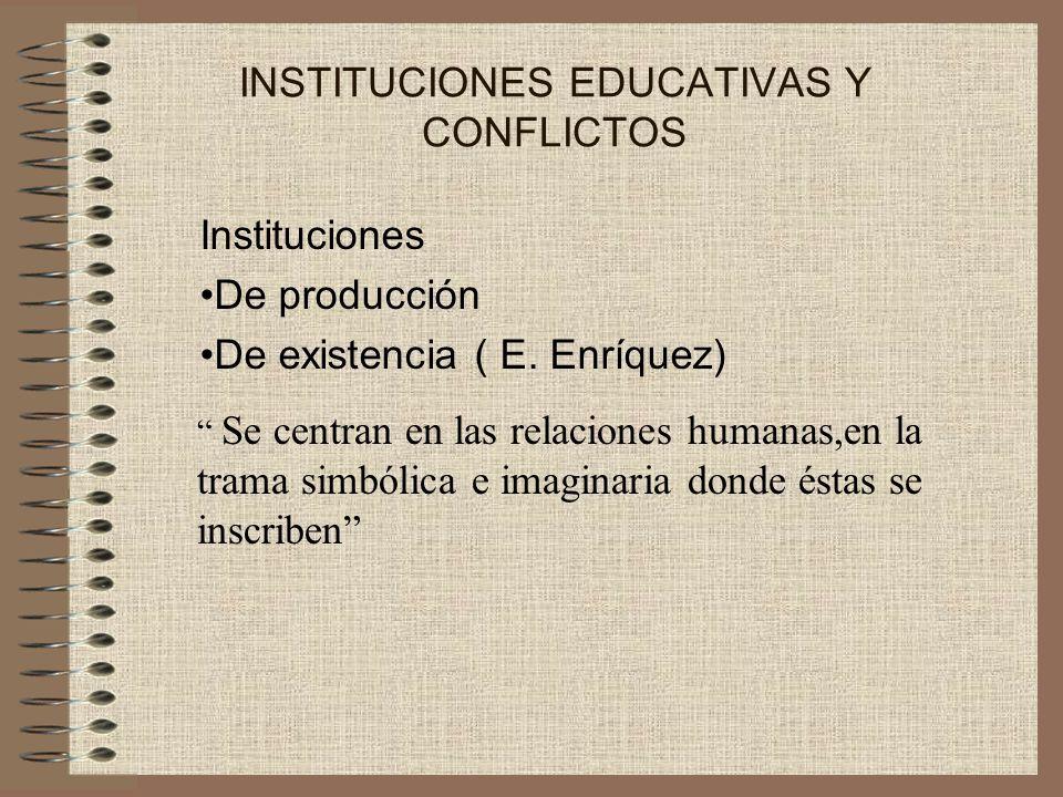 INSTITUCIONES EDUCATIVAS Y CONFLICTOS