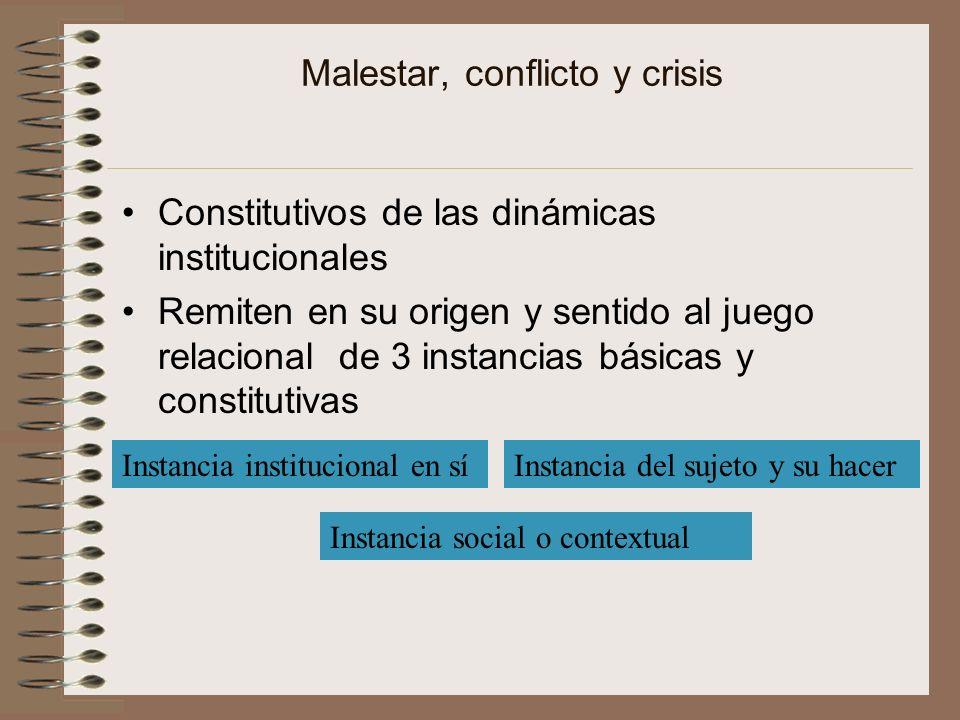 Malestar, conflicto y crisis