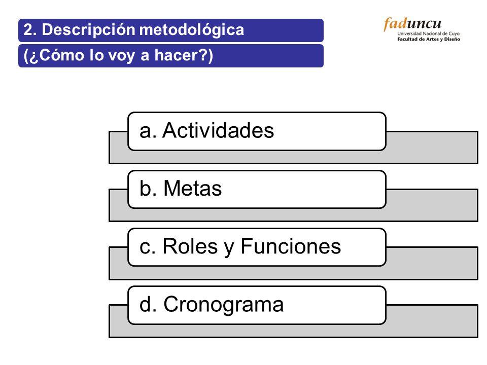 a. Actividades b. Metas c. Roles y Funciones d. Cronograma