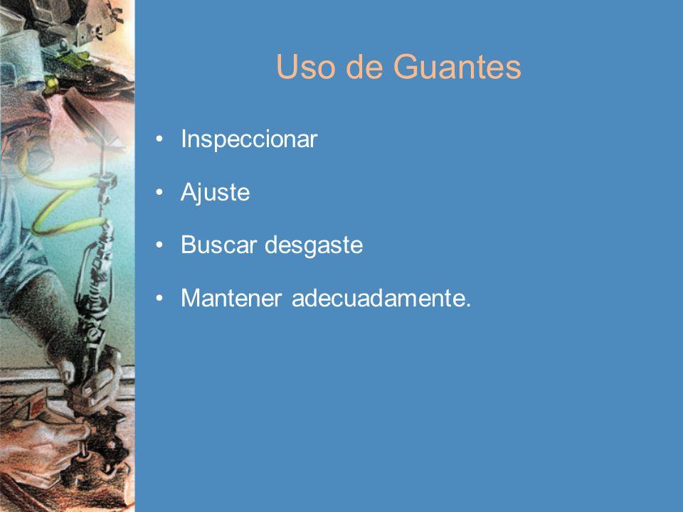 Uso de Guantes Inspeccionar Ajuste Buscar desgaste