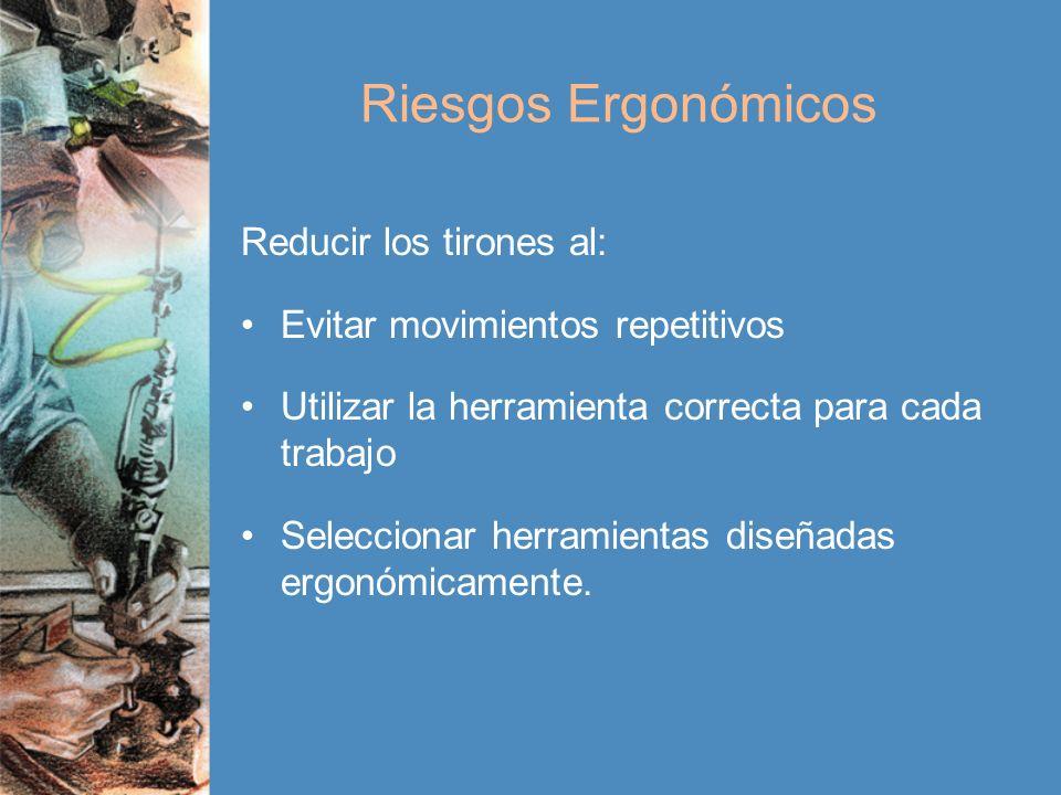 Riesgos Ergonómicos Reducir los tirones al: