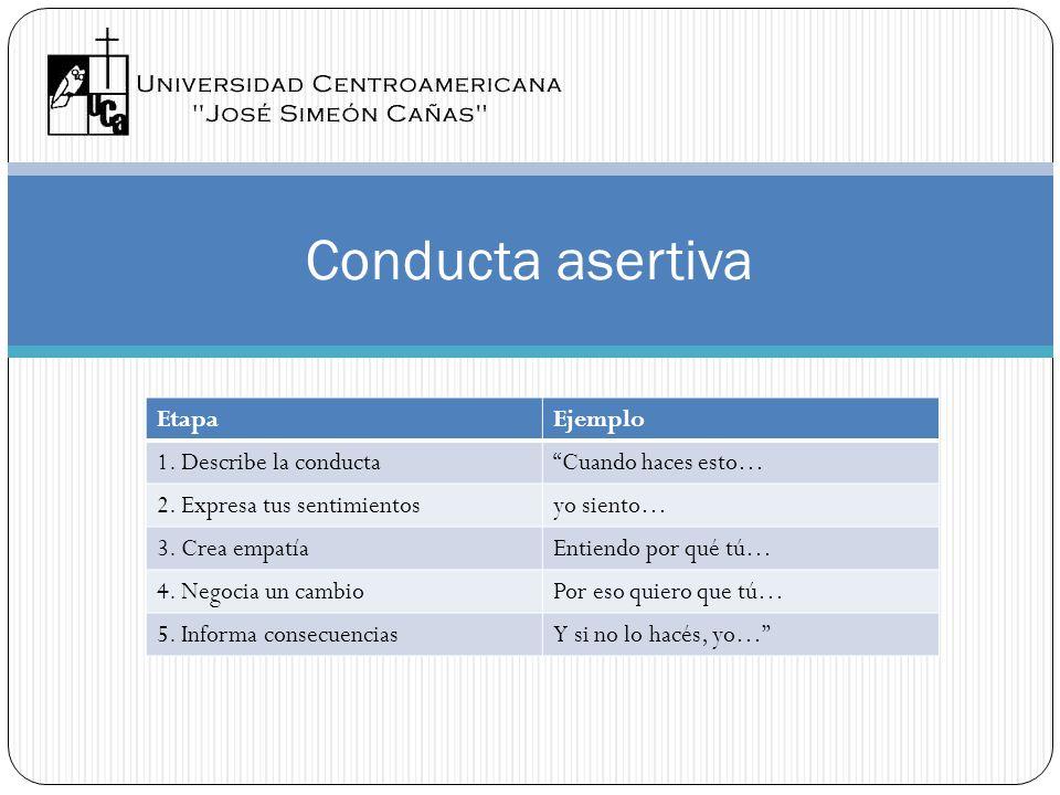 Conducta asertiva Etapa Ejemplo 1. Describe la conducta