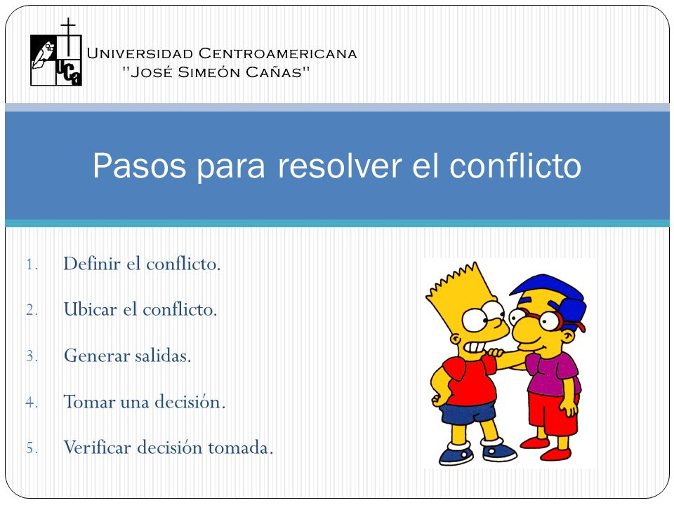 Pasos para resolver el conflicto