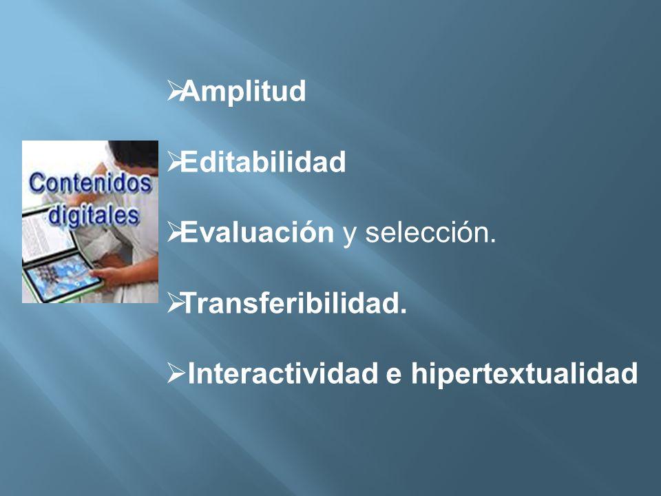 Amplitud Editabilidad Evaluación y selección. Transferibilidad. Interactividad e hipertextualidad