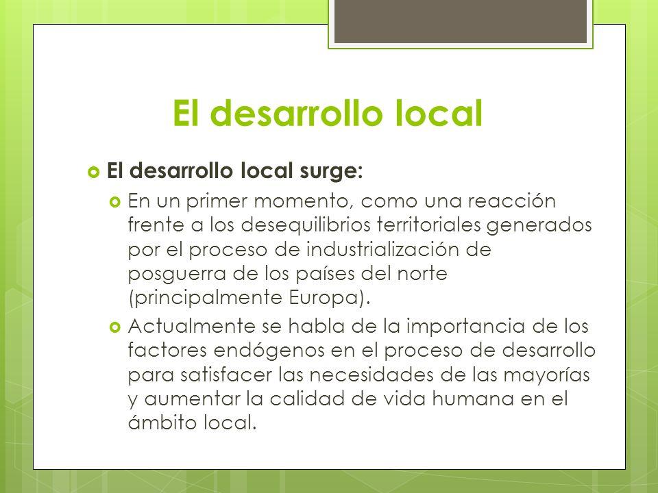 El desarrollo local El desarrollo local surge: