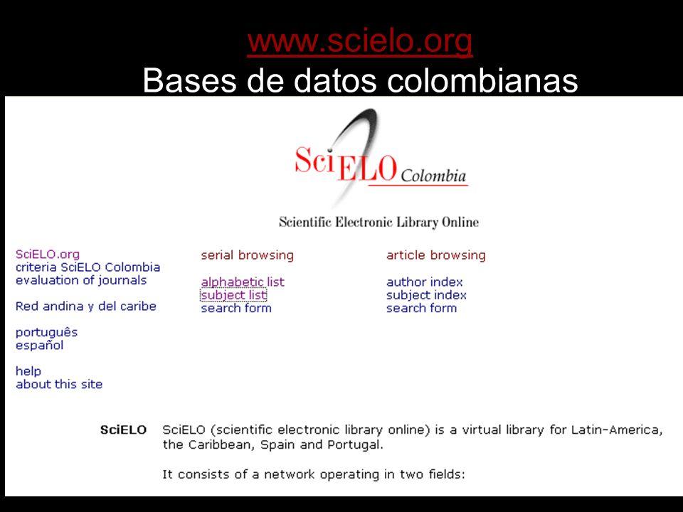 www.scielo.org Bases de datos colombianas
