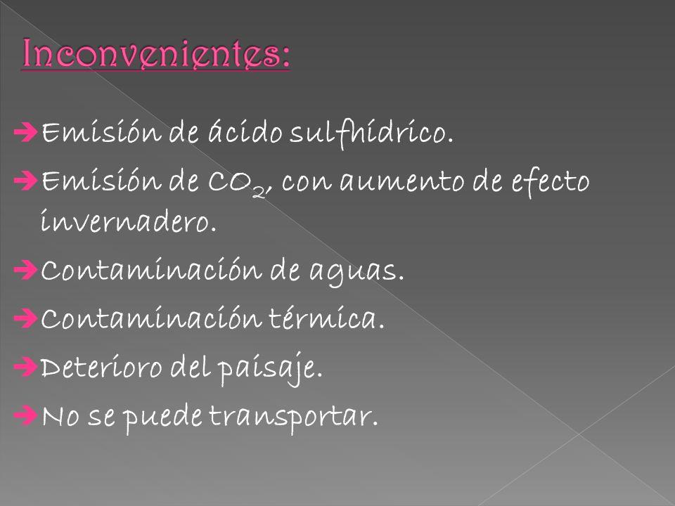 Inconvenientes: Emisión de ácido sulfhídrico.