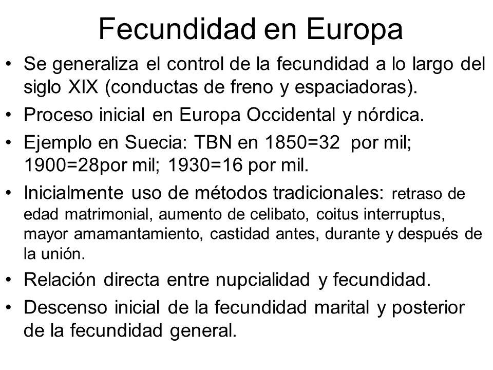 Fecundidad en EuropaSe generaliza el control de la fecundidad a lo largo del siglo XIX (conductas de freno y espaciadoras).