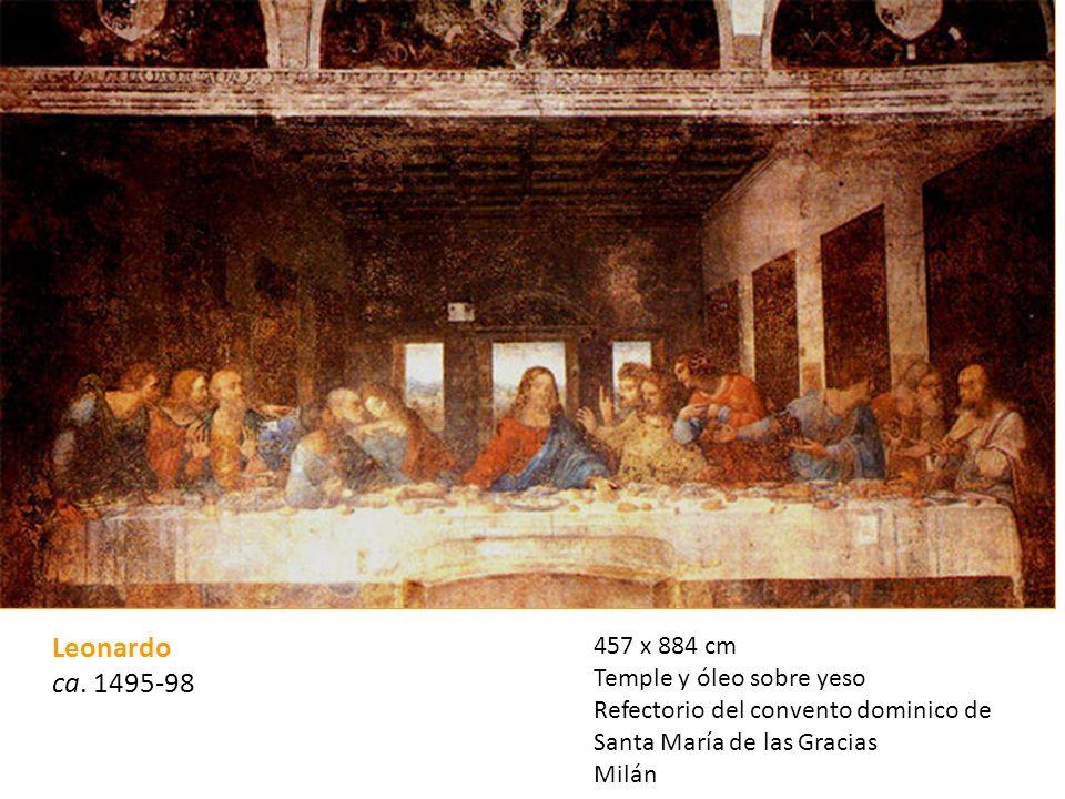 Leonardo ca. 1495-98 457 x 884 cm Temple y óleo sobre yeso
