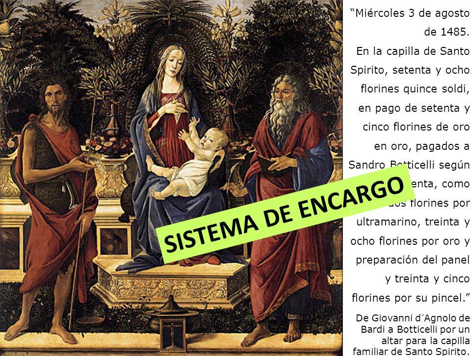 SISTEMA DE ENCARGO Miércoles 3 de agosto de 1485.