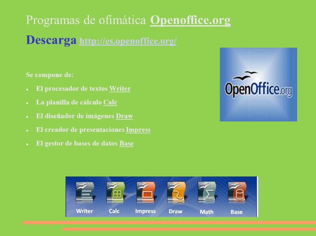 Programas de ofimática Openoffice.org