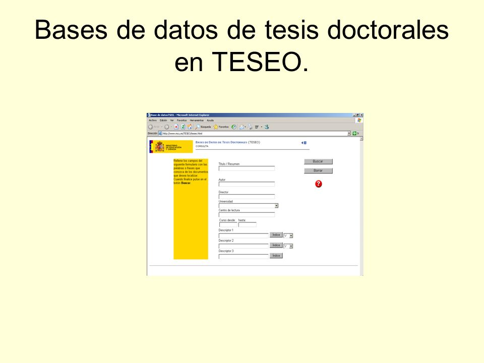 Bases de datos de tesis doctorales en TESEO.