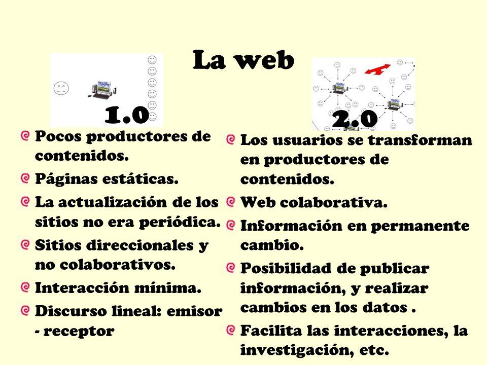1.0 2.0 La web Pocos productores de contenidos.