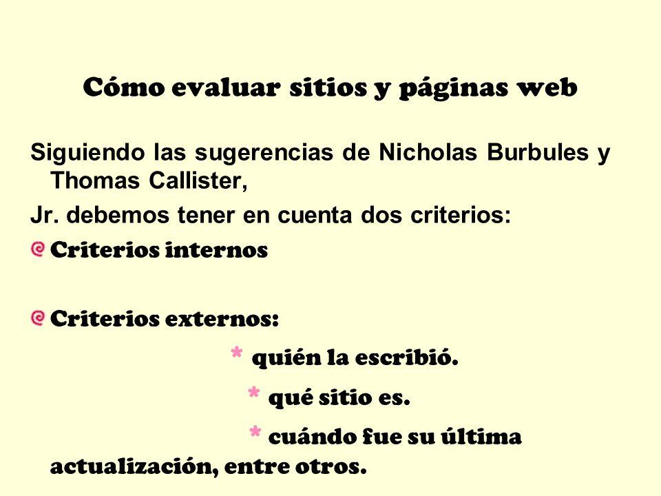 Cómo evaluar sitios y páginas web