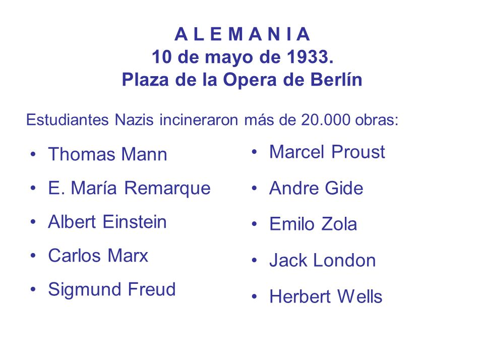 A L E M A N I A 10 de mayo de 1933. Plaza de la Opera de Berlín