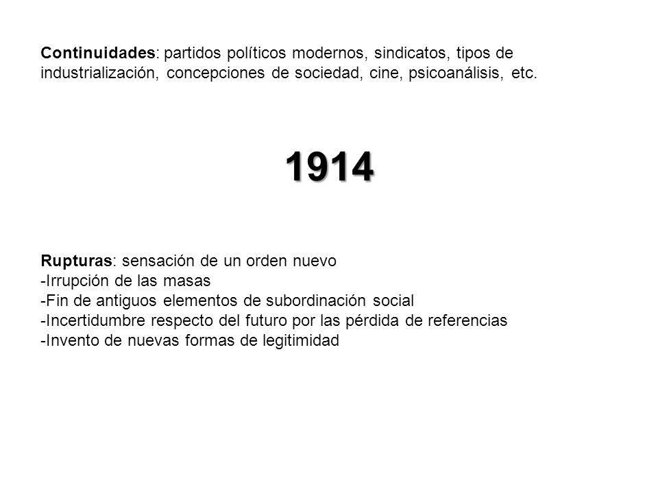Continuidades: partidos políticos modernos, sindicatos, tipos de industrialización, concepciones de sociedad, cine, psicoanálisis, etc.