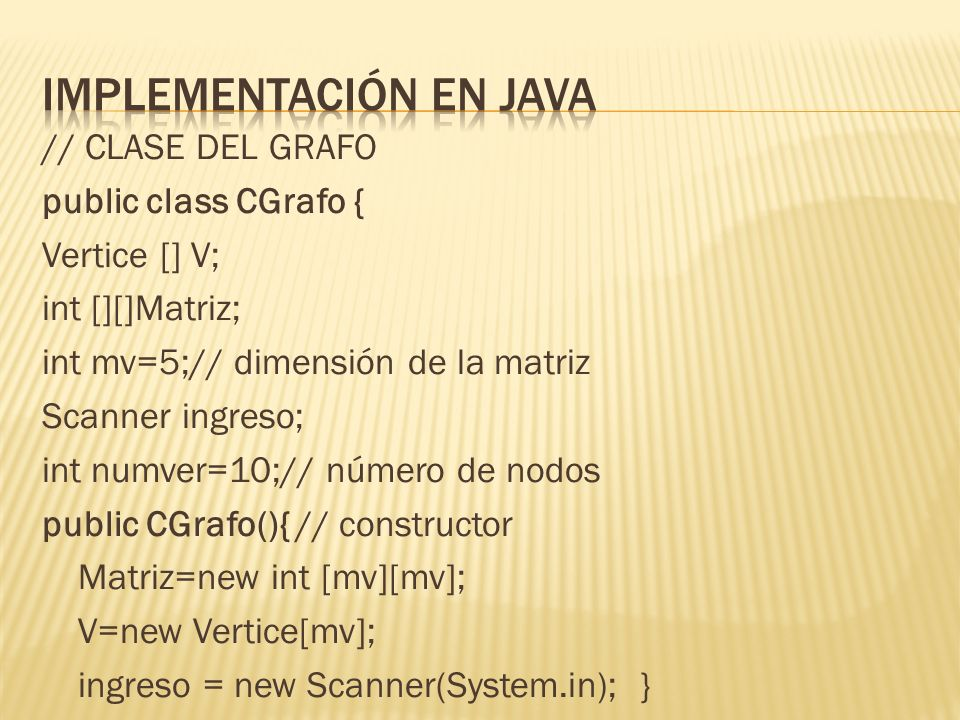 Implementación en jAVA