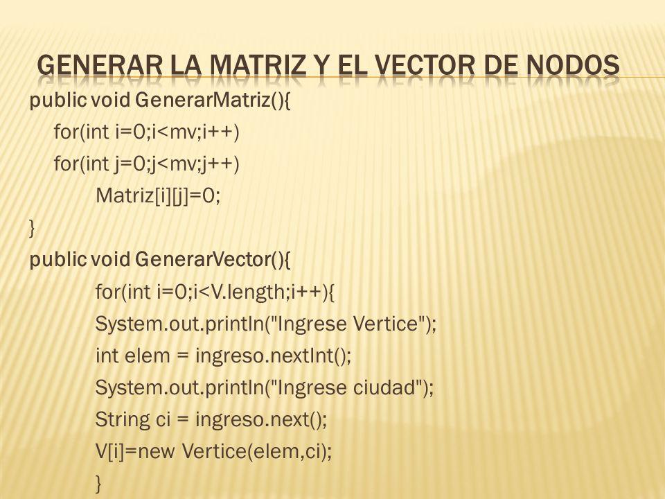 generar la Matriz y el vector de nodos