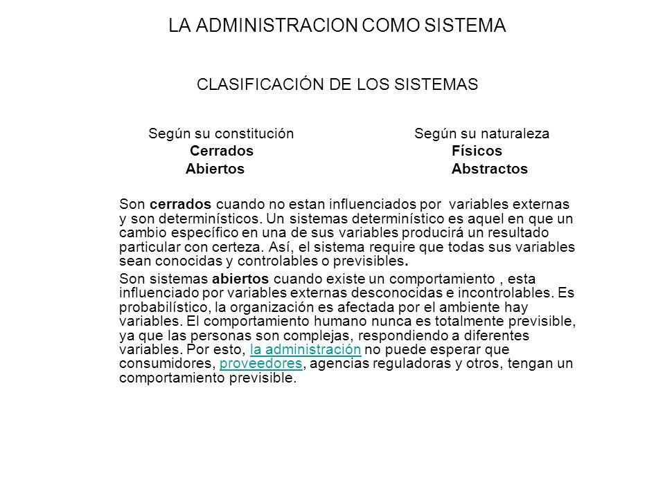 LA ADMINISTRACION COMO SISTEMA CLASIFICACIÓN DE LOS SISTEMAS