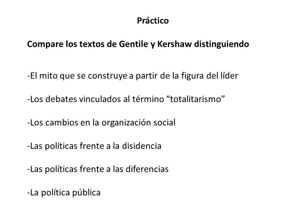 PrácticoCompare los textos de Gentile y Kershaw distinguiendo. El mito que se construye a partir de la figura del líder.