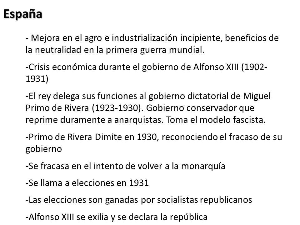 España- Mejora en el agro e industrialización incipiente, beneficios de la neutralidad en la primera guerra mundial.