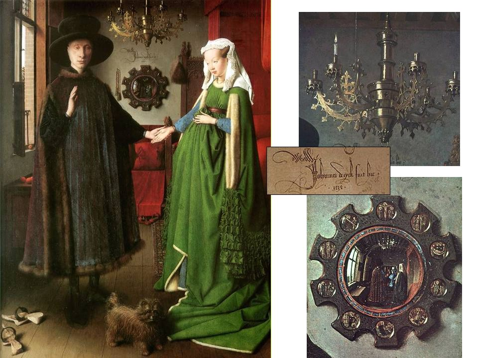 Jan Van Eyck Matrimonio Arnolfini 1434 Óleo sobre tabla 82 x 60 cm.