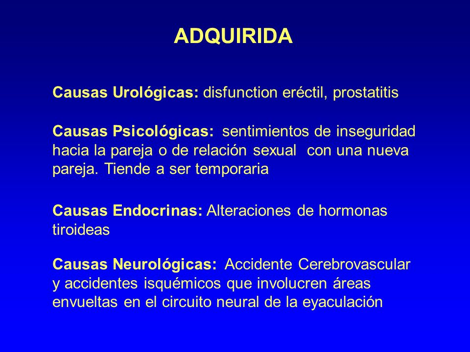 ADQUIRIDA Causas Urológicas: disfunction eréctil, prostatitis