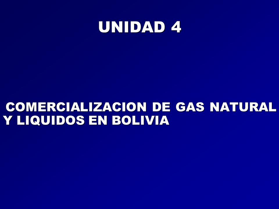 UNIDAD 4 COMERCIALIZACION DE GAS NATURAL Y LIQUIDOS EN BOLIVIA