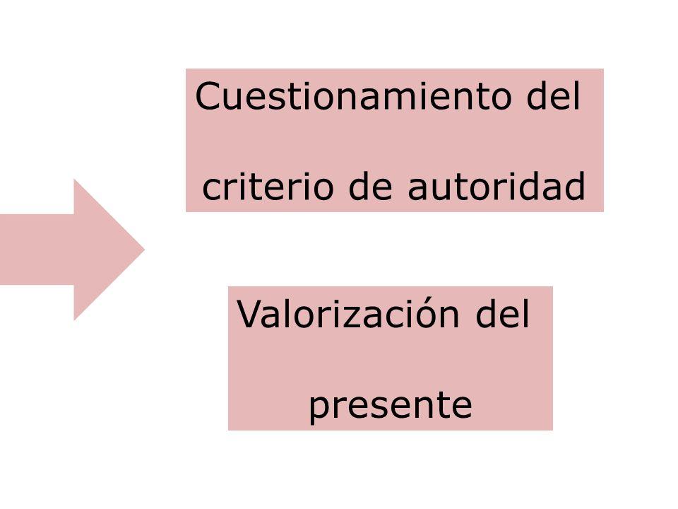 Cuestionamiento del criterio de autoridad Valorización del presente