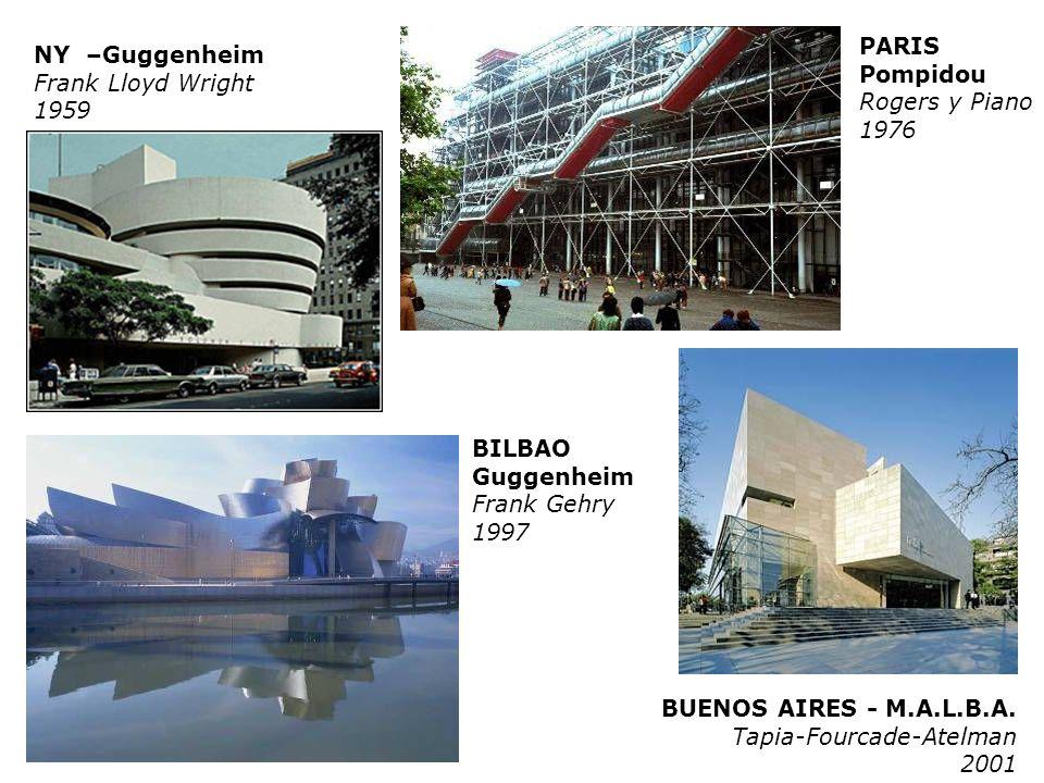 PARIS Pompidou. Rogers y Piano. 1976. NY –Guggenheim. Frank Lloyd Wright. 1959. BILBAO. Guggenheim.